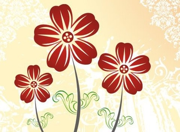 Red Flower Plants Background - Free vector #335823