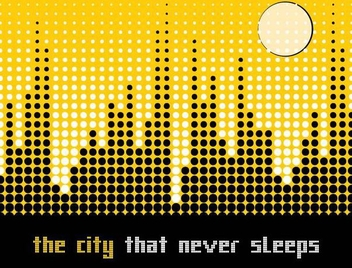 Pixilated Dots Cityscape Background - Free vector #335913