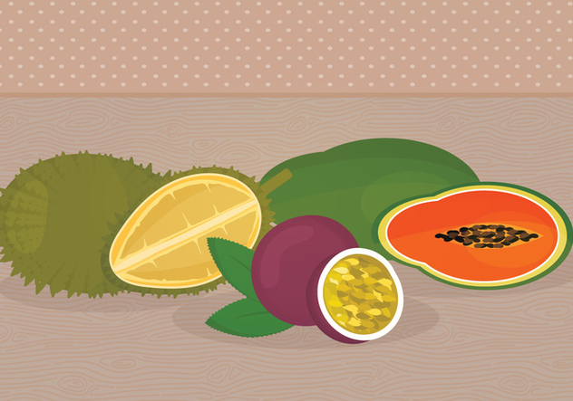 Exotic Fruits Vector Illustrations - бесплатный vector #336053