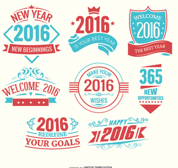 2016 new year logos light blue and red - Free vector #336283