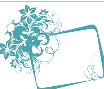 Blue Floral Square Frame Banner - Free vector #336373