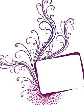 Purple Swirls Halftone Frame Banner - vector gratuit #336463