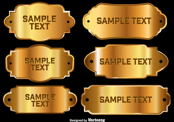 Shiny golden name plates - vector #337113 gratis