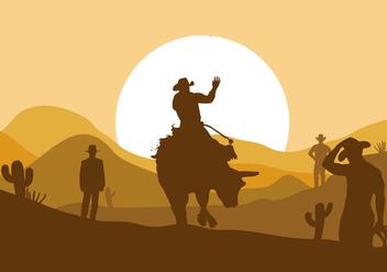 Bull Rider Vector - Free vector #337733