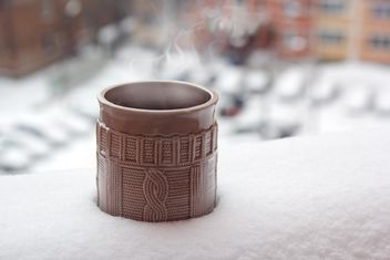 Cup of coffee in snow - Free image #337883