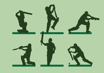 Cricket Player Silhoutte Vector - Free vector #338013