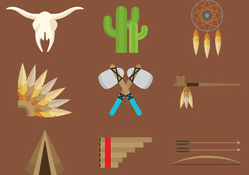 North American Indian Icons - Free vector #338053