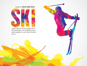 Ski colorful design - Free vector #338443
