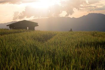 Hut in mountains at sunset - Free image #338503