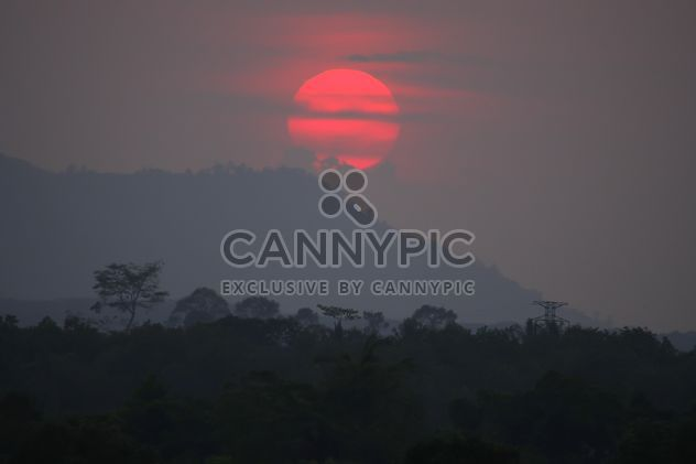 Landscape with mountain at sunset - Free image #338583