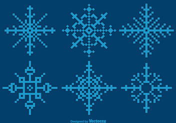 Pixilated Blue Snowflake Set - Free vector #338853