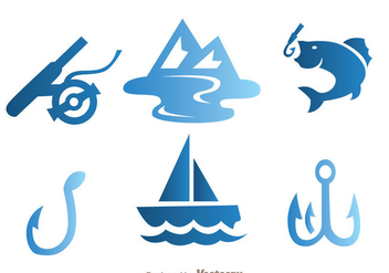 Fishing Blue Icons - Free vector #339253