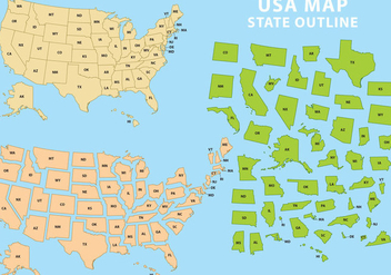 State Outline USA - vector #339283 gratis