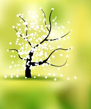 Spring landscape with tree and flowers - бесплатный vector #339663