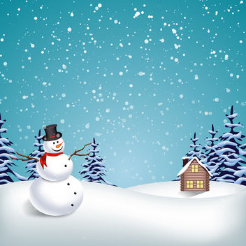 Vector Winter Landscape - Free vector #340493