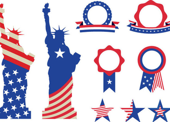 USA Monuments Badges - бесплатный vector #341093