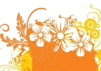 Grungy Abstract Floral Card - Free vector #341213