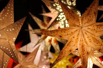 Close up of Christmas illuminated stars - image gratuit #341543