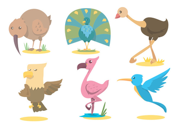 Exotic Bird Vector Set - Free vector #342003