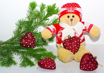 A teddy bear in the branches of spruce, new year, Christmas composition - бесплатный image #342493