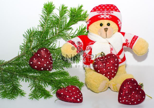 A teddy bear in the branches of spruce, new year, Christmas composition - Free image #342493