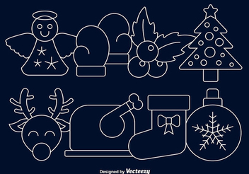 Linear Christmas Cartoon Icon Set - Free vector #342793