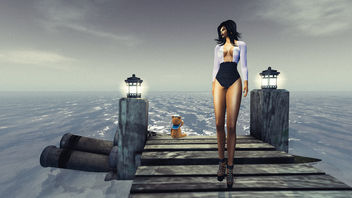 The girl, the ocean and the teddy bear that had a boat - Free image #342853