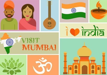 Visit Mumbai - Free vector #343103