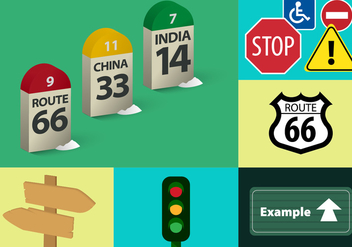 Traffic Signals Vector Illustrations - vector gratuit #343463