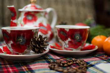 Christmas Eve, warm coffee, mandarin and Christmas toy - бесплатный image #343593
