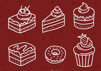 Cake White Outline Icons - Free vector #343723