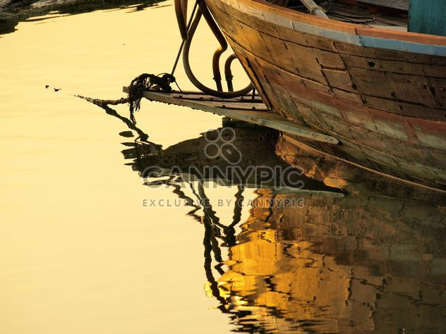 Wooden fishing boat moored - Free image #344133