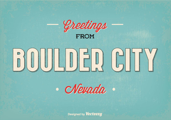 Retro Style Boulder City Greeting Illustration - Kostenloses vector #344823