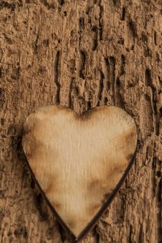 Wooden heart on wooden background - бесплатный image #345093