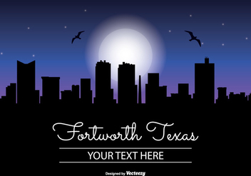 Fort Worth Texas Night Skyline - бесплатный vector #345163