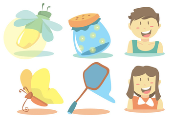 Summer Catching Firefly Vector Set - бесплатный vector #345343
