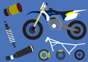 Vector Set of Motorcycle Elements - vector gratuit #345433