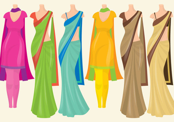 Indian Dresses - vector gratuit(e) #345683
