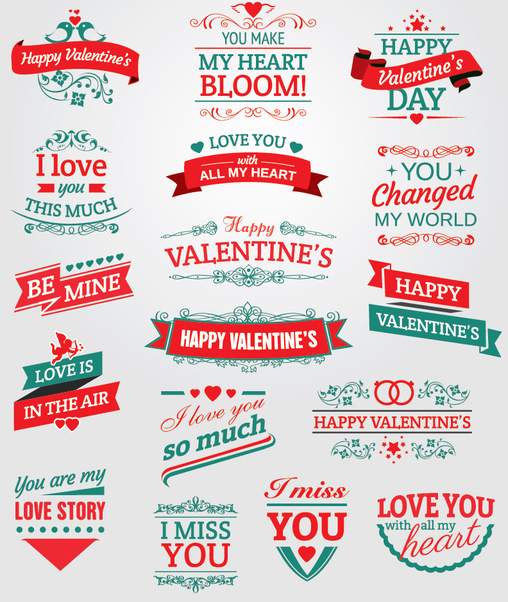 Valentine's badges, ribbons and emblems - Free vector #345793