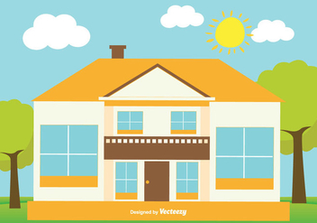 Cute Flat Style House Illustration - vector gratuit #346133
