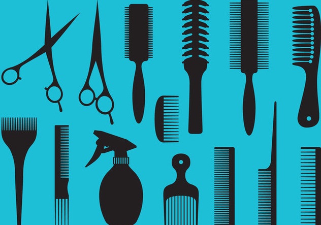 Barber Tools Silhouettes - Free vector #346373