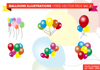 Balloons Illustrations Free Vector Pack - Free vector #346433