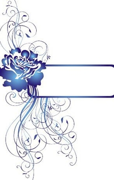 Rose Decoration Blue Frame - vector gratuit #346483