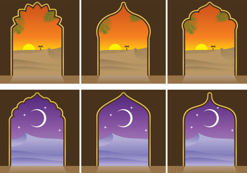 Arabian Landscapes And Door Vectors - Free vector #346673