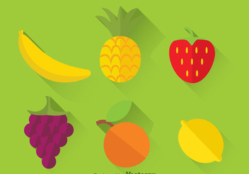 Fresh Tropical Fruits Flat Icons - бесплатный vector #346683