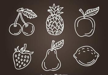 Fruits Hand Drawn Icon Vectors - vector #346773 gratis