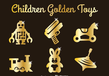 Children Golden Toys Set - vector gratuit #347103