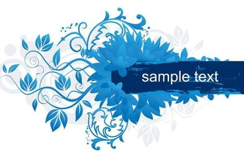Floral Swirls Blue Banner - Free vector #347143