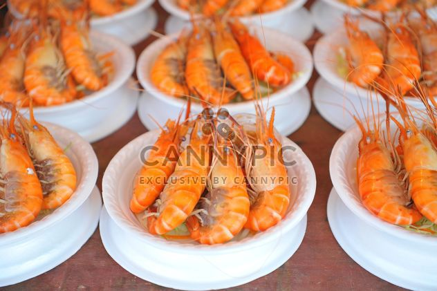 Tasty boiled shrimps in bowls - Free image #347243