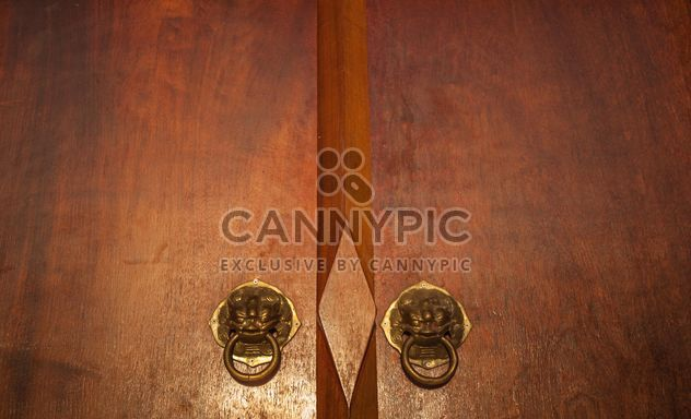 Wooden door with knockers closeup - Free image #347293